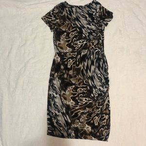 Animal print dress with side ruching